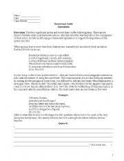 english teaching worksheets romeo and juliet