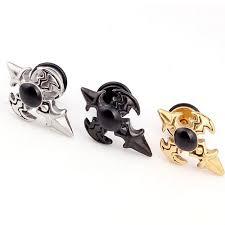 boys earrings online shop isayoe 2piece gold silver black stainless steel studs