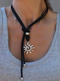 tie knot leather necklace images Leather necklace with sun pendant beau soleil jewelry jpg