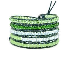 bead wrap bracelet leather images Beaded wrap bracelet with green white beads on leather bracelets jpg