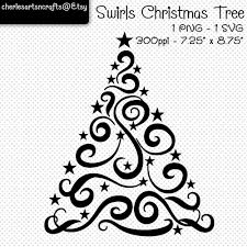 swirls christmas tree svg and png digital files christmas