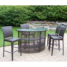 Cheap Patio Table And Chairs by Palm Harbor 3 Piece Outdoor Wicker Bar Set Table Two Stools By Oj