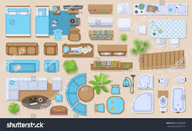 Floor Plan Furniture Clipart Icons Set Interior Top View Isolated Stock Vector 518830666