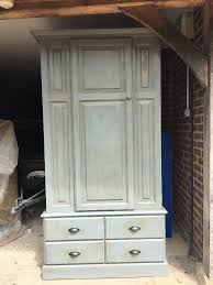 painted blue grey shabby chic pine wardrobe for sale in alton