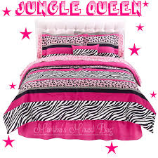 Girls Jungle Bedding by Jungle Chic Teen Girls Pink Black White Zebra Stripe Comforter Bed