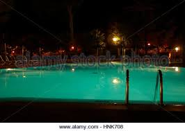 Pool At Night Swimming Pool Ladder At Night Stock Photo Royalty Free Image