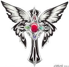 heart cross butterfly tattoo designs