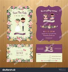 Rsvp On Invitation Card Rustic Blossom Flowers Cartoon Couple Wedding Stock Vector