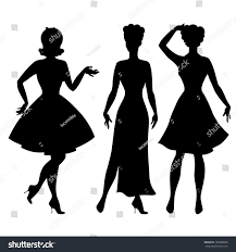 halloween background art 1950 silhouettes beautiful pin girls 1950s style stock vector 163938668