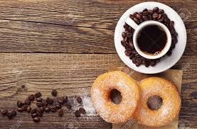 Wooden Table Top View Breakfast With Sweet Donut And Coffee On Wooden Table Top View