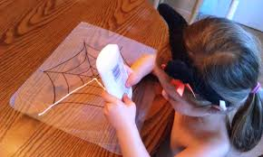 glitter and glue spiderweb kids craft for halloween woo jr