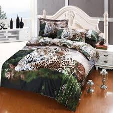 Cheap Bed Duvets 3d Oil Painting Leopard Print Egyptian Cotton Bed Duvet Cover Flat