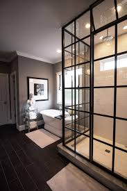 glass shower door for tub dramatic master bathroom ideas with freestanding tub and pane