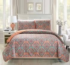 Floral Medallion Duvet Cover Floral Medallion Print Orange Green Reversible Bedspread Quilt Set