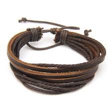 bracelet leather wrap images Genuine leather bracelets mens braided multilayer leather wrap jpg
