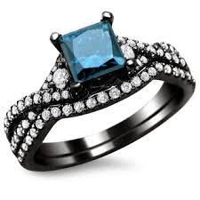 black gold wedding sets noori 18k black gold 1 1 2ct tdw certified blue and white diamond
