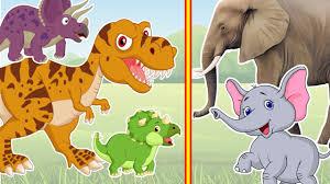 dinosaurs vs elephant cartoons for children funny animals