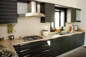 kitchen black and white double built in oven stainless steel sink