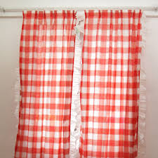 cotton red white ruffled plaid country curtains