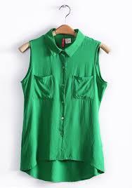 green chiffon blouse green irregular lapel sleeveless pockets chiffon blouse