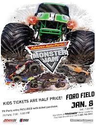 monster truck jam ford field advance auto parts brings monster jam to detroit info amy clary