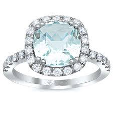 aquamarine wedding rings cushion cut aquamarine halo engagement ring