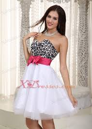 white a line sweetheart knee length leopard and tulle bow holiday