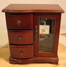 Jewelry Chest Armoire Musical Jewelry Box Vintage Chest Mini Armoire Table Top Wood 9 1