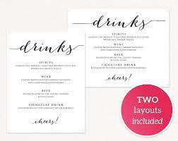wedding drink menu template wedding drinks menu wedding templates and printables