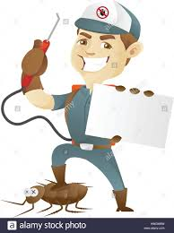 pest control service killing cockroach holding business card