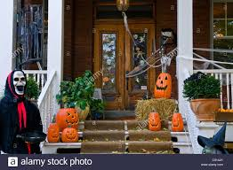 images of halloween decorated houses house decorated for halloween montreal canada stock photo royalty