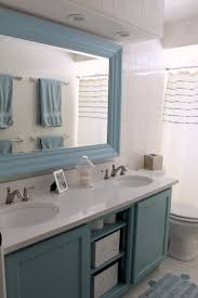 Cottage Style Bathroom Mirrors Bathrooms Design Blue Bathroom Vanity With Large Mirror And