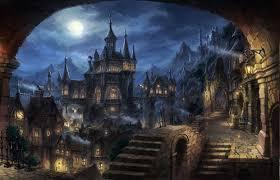 dark village wallpaper mountain town village night full moon cityscape dark fantasy