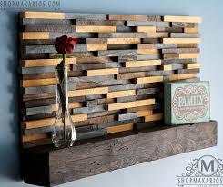 wood tile coat rack with floating shelf by shop makarios coat rack