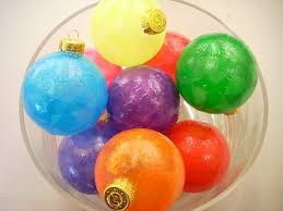 tissue paper and glass ornaments