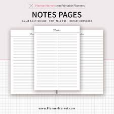 printable planner notes notes page 2018 planner a5 a4 letter size planner refill