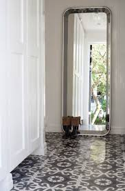 white and gray mosaic tiles cottage entrance foyer interior