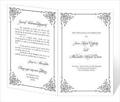 wedding program design template wedding program template word cyberuse
