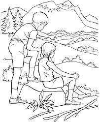 summer coloring kids hiking park coloring sheets