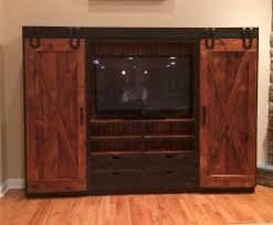 Entertainment Center Cabinet Doors Reclaimed Barn Wood Entertainment Cabinet With Sliding Barn Doors