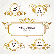 Victorian Design Style by Vector Set Of Template In Victorian Style Ornate Golden Element
