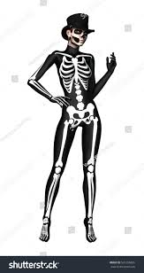Skeleton Costume For Halloween 3d Digital Render Young Woman Wearing Stock Illustration 501296626