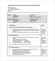 club meeting minutes templates u2013 9 free sample example format