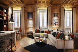 Exposed Brick Apartments Loft Apartment Design Cozy Living Room With Exposed Brick Wall