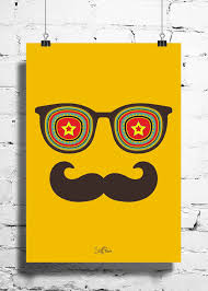 cool funky abstract moustache star wall posters art prints