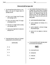 elements u0026 compounds quiz test or ws worksheets and physical