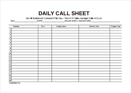 Sales Call Report Template Excel by Call Sheet Template 21 Free Word Pdf Documents