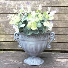 Shabby Chic Flower Pots by Vintage Style Antique Metal Garden Planter Urn Flower Pot Vase