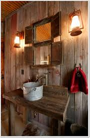 rustic bathroom decorating ideas bathroom retro rustic bathroom with small square wall mirror and