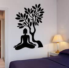 buddha wall sticker chinese goods catalog chinaprices net buddha vinyl decal tree blossom yoga meditation relaxation om zen mural art wall sticker living room